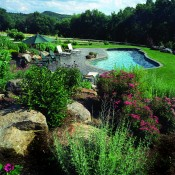 Sheffield – plunge pool 32′ x 12′ x 18′, stamped concrete terrace, mixed large boulder garden terraces