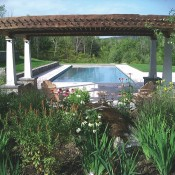 Alford – barn beam pergola creates shaded sitting area