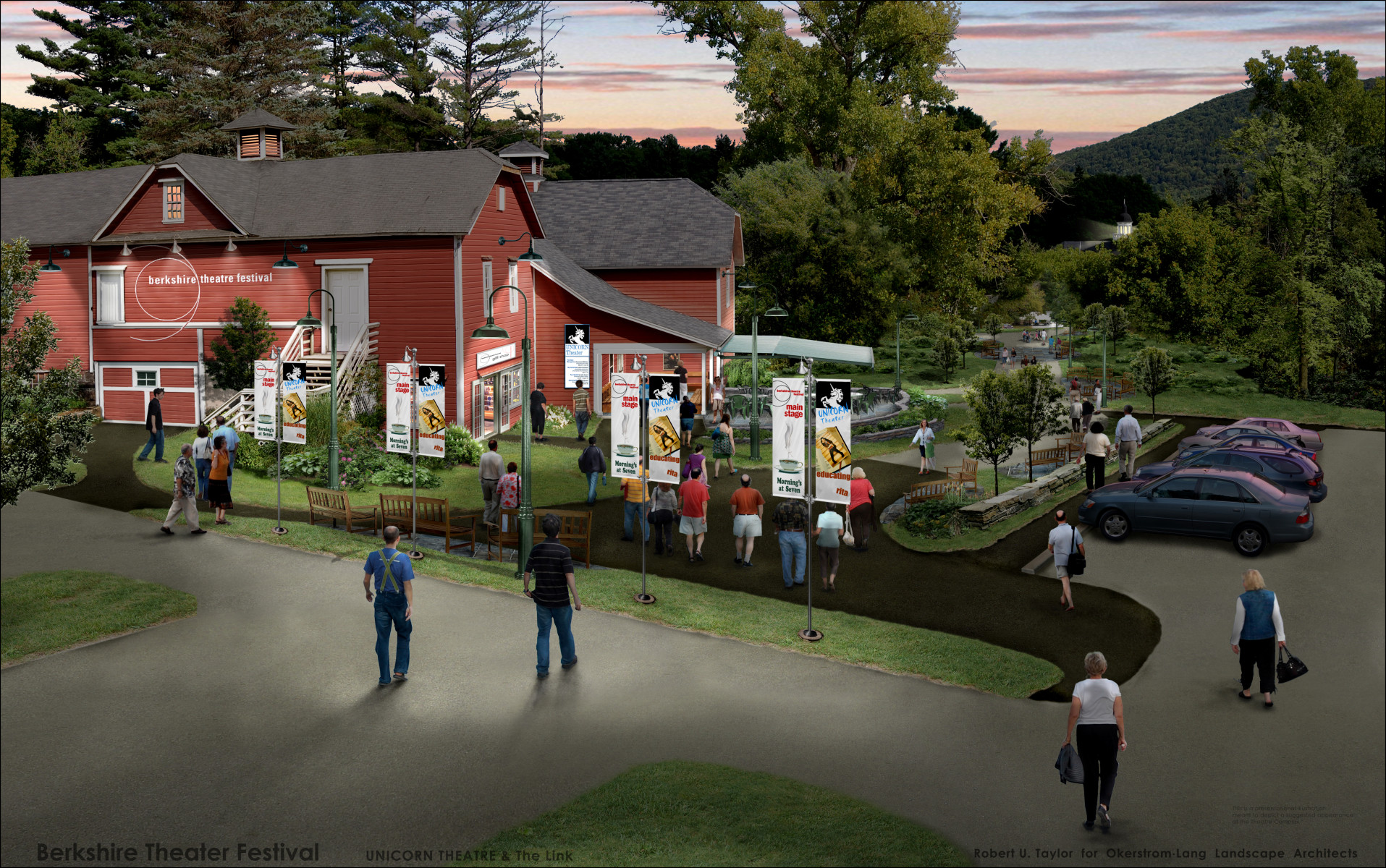 BTF Unicorn Theater master plan dusk 'before' 2